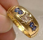 18K Sapphires & Diamond Victorian Ring 1890 Size 6-3/4