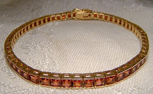 10K Yellow Gold Red Orange Tourmaline Tennis Bracelet 1980s