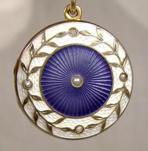 Edwardian Enamel Seed Pearls Gold Filled Photo Locket Pendant 1905-10
