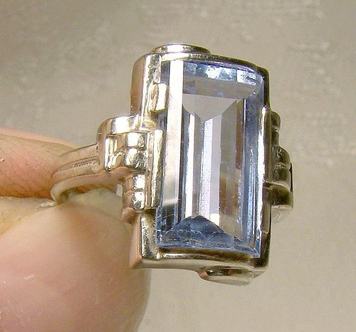 Industrial Art Deco 10K White Gold Blue Topaz Ring 1930 10 K Size 4
