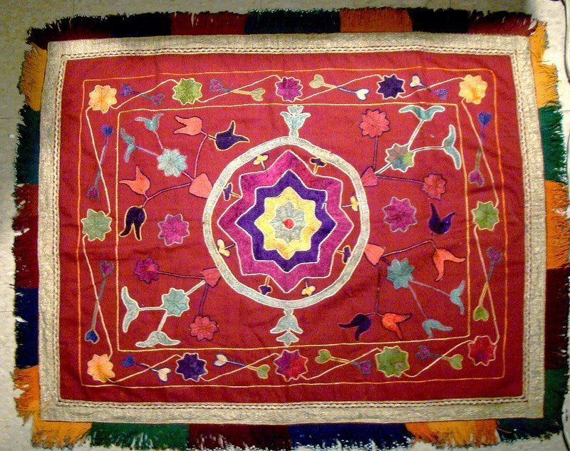 Pashtun Afghanistan Hand Embroidered Beaded Tablecloth Tray Cover
