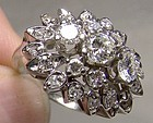 18K White Gold Diamonds Cluster Cocktail Ring 1950s 18 K Size 6