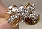 14k Yellow Gold Diamonds Butterfly Cluster Cocktail Ring 1960s Apprais