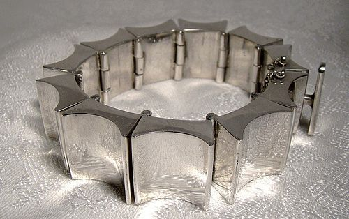 Mexican STERLING Silver Heavy Designer Quality BRACELET 1970s