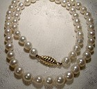 Baroque Pearls Strand Necklace w/ 18K Gold Clasp 1980s 72 Pearls ~8 mm