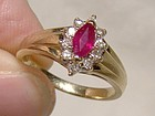 10K Ruby Diamonds Ring 1960s Genuine Ruby Diamond Stones - Size 6