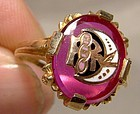 10K Rebekah Lodge Synthetic Ruby Enamel Sorority Ring - Size 5-1/2