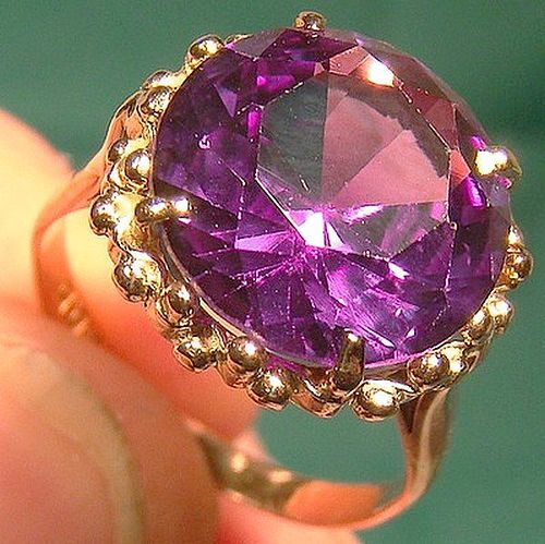 12K Egyptian Synthetic Alexandrite Ring 1950s - Size 6