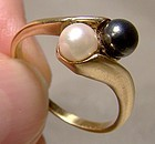 10K Cultured Black Alaskan Diamond Hematite Black Pearls Ring 1960