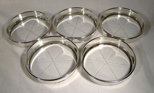 Set of 5 Birks Sterling and Crystal Drinks Coasters