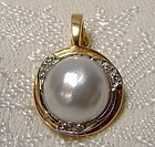 14k MABE PEARL & DIAMONDS Pearl Enhancer Pendant Necklace 14 K 1970s
