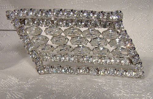 Kramer of NY Asymmetrical White Rhinestone Pin or Brooch 1950s