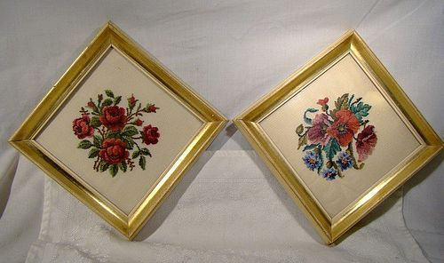 Pair Cross Stitch Needlepoint Roses and Poppies Framed Pictures
