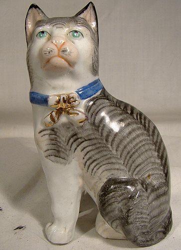 19th Century Porcelain Cat Figurine - Hand Painted Antique