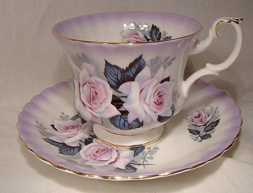 Royal Albert White and Pink Double Ice Rose Tea Cup and Saucer