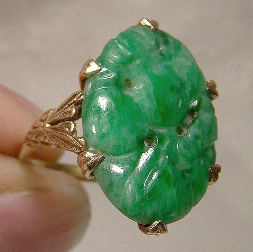Edwardian 10K Birks Carved Green Jadite Jade Ring 1910 1915
