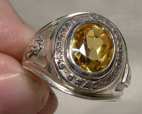 Birks Yellow Sapphire Sterling Silver School Graduation Ring 1976