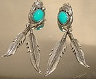 STERLING Silver Turquoise NAVAJO Feathers Earrings signed RB Pierced