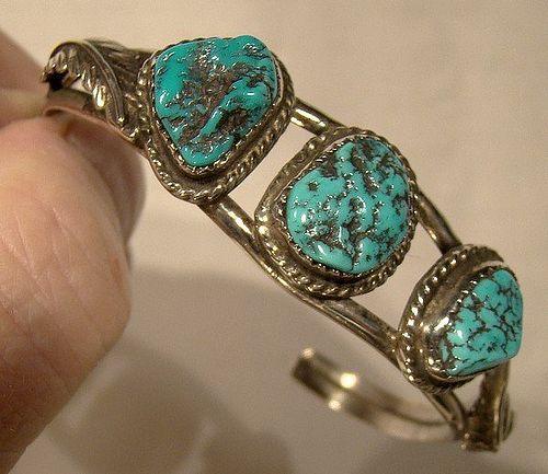 Navajo Sterling Silver Turquoise Cuff Bracelet 1940 1950 Sleeping Beau