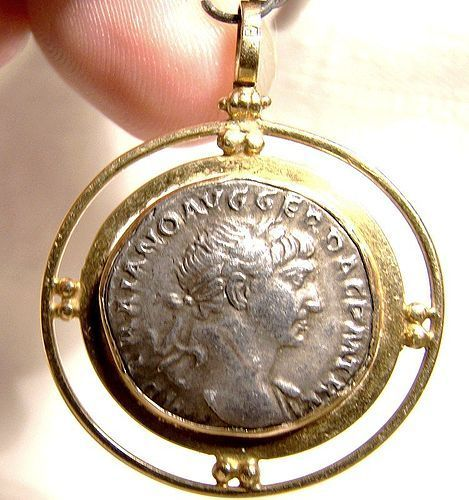 Trajan Silver Drachm Ancient Roman Coin in 18K Pendant for Necklace