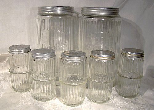 7 Hoosier Glass Kitchen Storage Jars 1920s-30s Original Lids