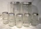 7 Hoosier Glass Kitchen Storage Jars 1920s-30s Original Lids
