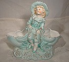 Victorian Bisque Double Shell Young Boy Figural Mantle Vase
