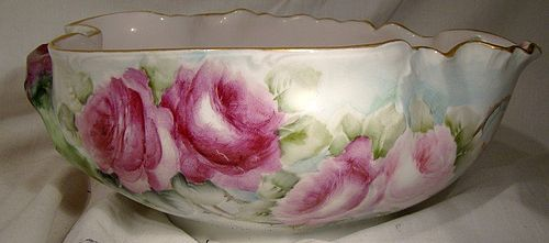 Hand Painted Limoges Large Roses Centerpiece or Fruit Bowl Dated 1903