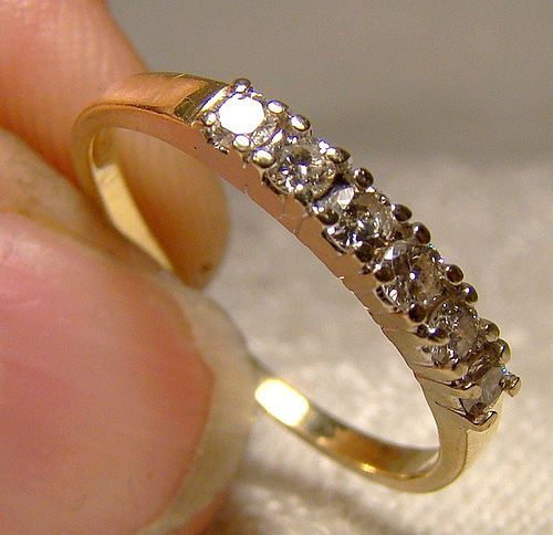 14K Yellow Gold Diamonds Row Ring Wedding Band 1970s 14 K Band