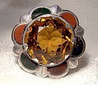 Scottish Sterling Agate Pebble Brooch or Pin 1890 1900
