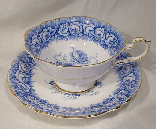 Paragon Blue and White Roses Bouquet Cup and Saucer 1950s