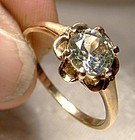 10K Pale Yellow Green Spinel Ring 1950s - Size 7
