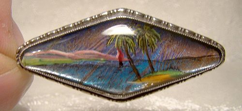 Sterling Butterfly Wing Pin or Brooch 1930s 1940s with Painted Scene
