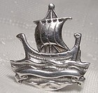 Thomas Kerr Ebbutt Galleon Sailing Ship Sterling Silver Pin Brooch