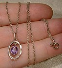 Amethyst Sterling Silver Pendant on Chain Necklace 1930s
