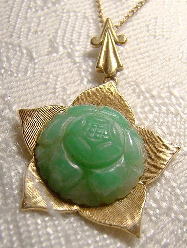 10K Carved Green Jadite Jade Lotus Flower Pendant on Chain Jadeite