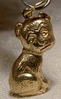 9K Yellow Gold Bonzo the Dog Cartoon Animation Character Charm 1940s