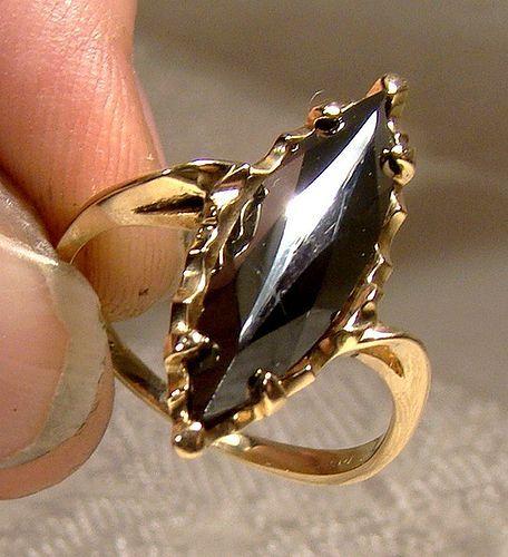 Retro 10k Black Alaskan Diamond Hematite Ring 1950s 10 K