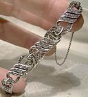 Birks Art Deco Sterling Silver Link Rhinestone Bracelet 1930s