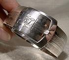 Sterling Silver Belt and Buckle Hinged Bangle BRACELET 1930s