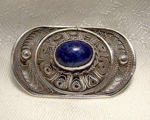Silver Filigree Pin Brooch with Blue Glass Cabochon Stone 1930s
