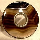 Victorian Scottish Banded Agate Brooch Pin 1860-80