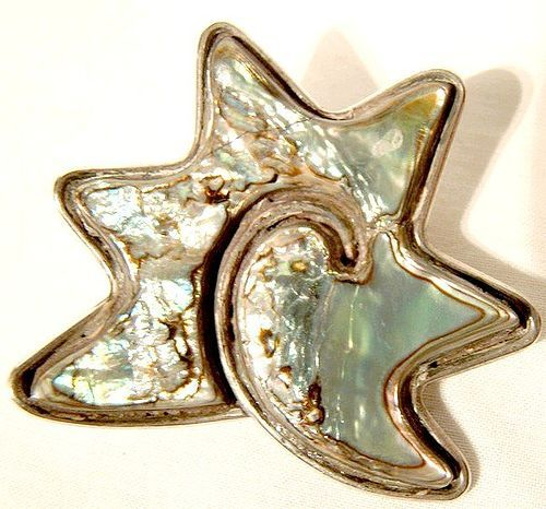 Mexican Sterling Silver Abalone Shell Starfish Modernist Abstract Pin