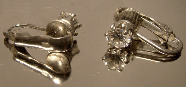 Pair Cubic Zirconia Solitaire Sterling Silver Clip On Earrings 1970s