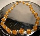 Czech Amber Molded Glass Cubes and Clear Beads Necklace 1910 1920