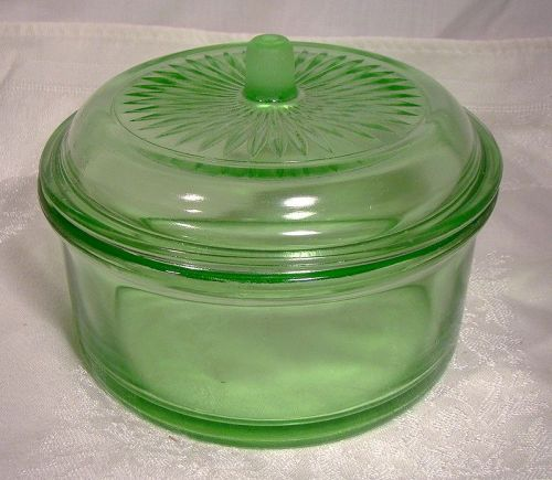 Hazel-Atlas Green Depression Glass Refrigerator Storage Jar with Lid
