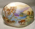 Signed Hand Painted Miniature Landscape Porcelain Sterling Brooch