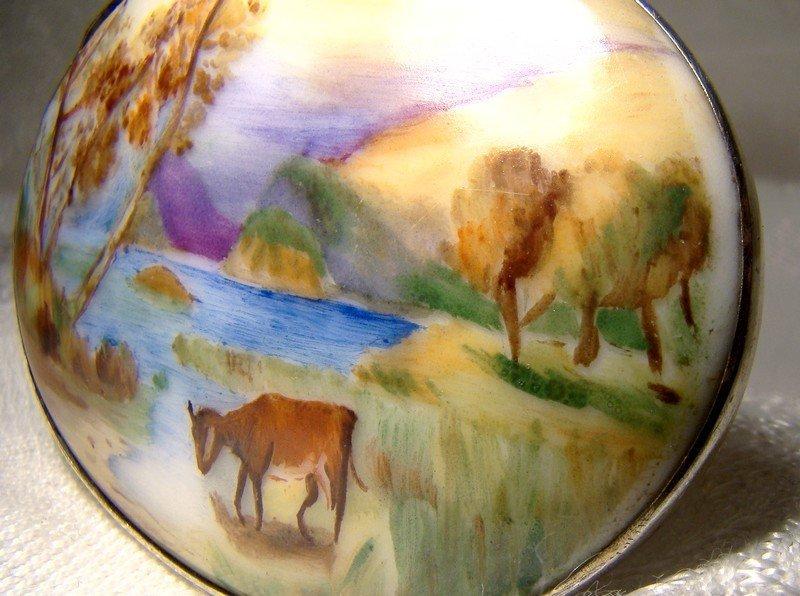 Signed Hand Painted Miniature Landscape Porcelain Sterling Brooch