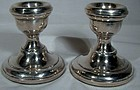 "Pair English Sterling Silver 2-3/8"" Candlesticks - Birmingham, England"