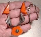German Industrial Art Deco Celluloid Bakelite Chrome Necklace 1920s